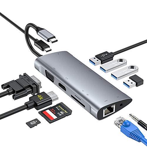Hub USB C, adapter typu C 11 w 1 z 4K HDMI, 1080P VGA, 3 USB 3.0 33,94 €