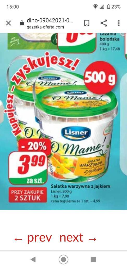 Sałatka warzywna z jajkiem Lisner opk. 500g przy zakupie 2 szt. /Dino/
