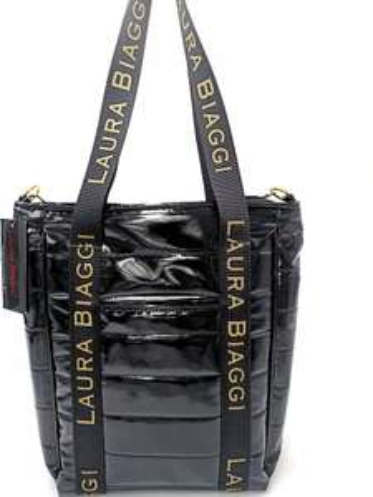 Laura Biaggi torba Shopper pikowana lakierowana