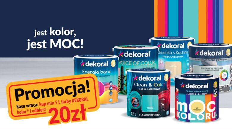 Cashback 20 zł za zakup 5l farby kolor Dekoral, MAX => 60 zł