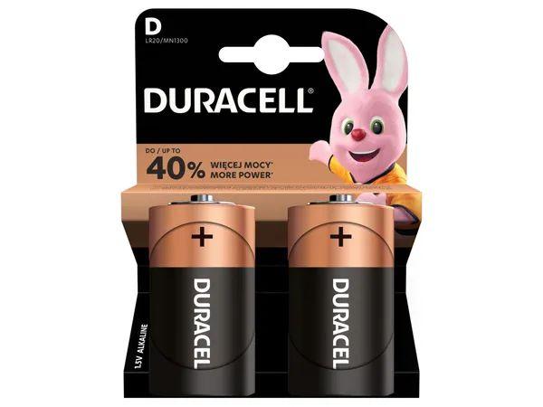 Dwupak baterii Duracell LR20 D (5 zł/sztuka)