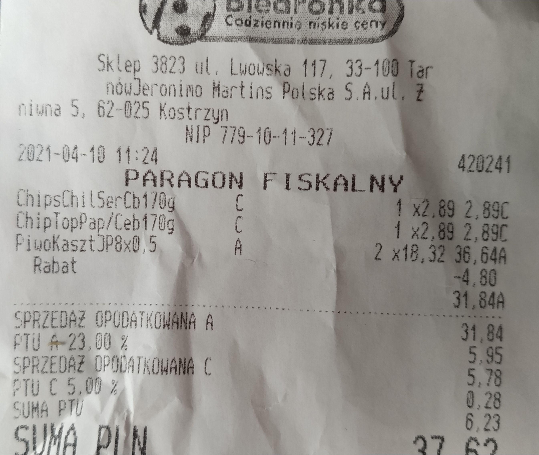 Piwo Kasztelan Jasne Pełne 8pak za 15,92zl (1,99zl puszka)