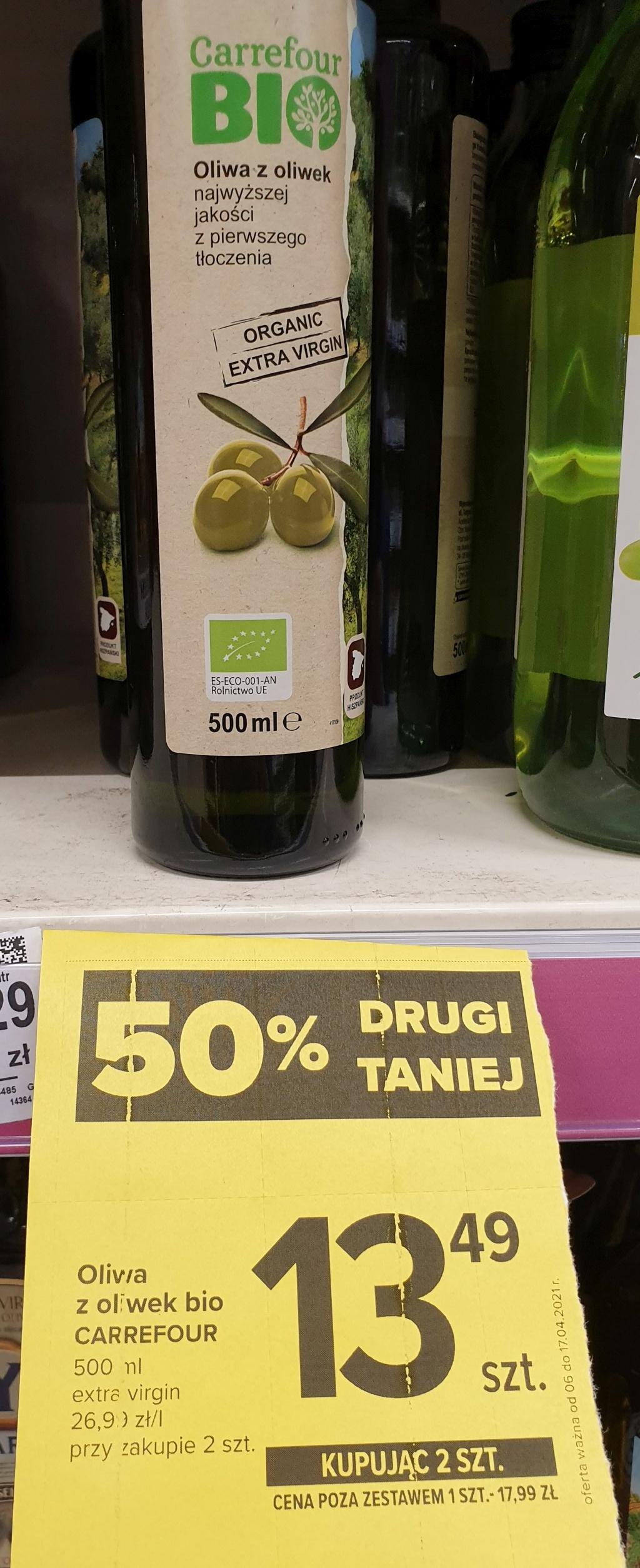 Bio Oliwa z oliwek Extra Virgin - kupując 2 szt 0,5l cena za 1 szt 13,49 - Carrefour