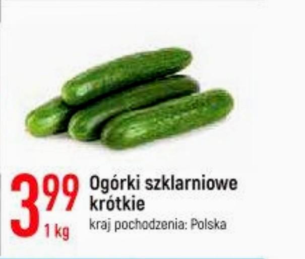 Ogórek zielony szklarniowy krótki 1 kg   kraj pochodzenia:Polska   30.04.2021 w Leclerc