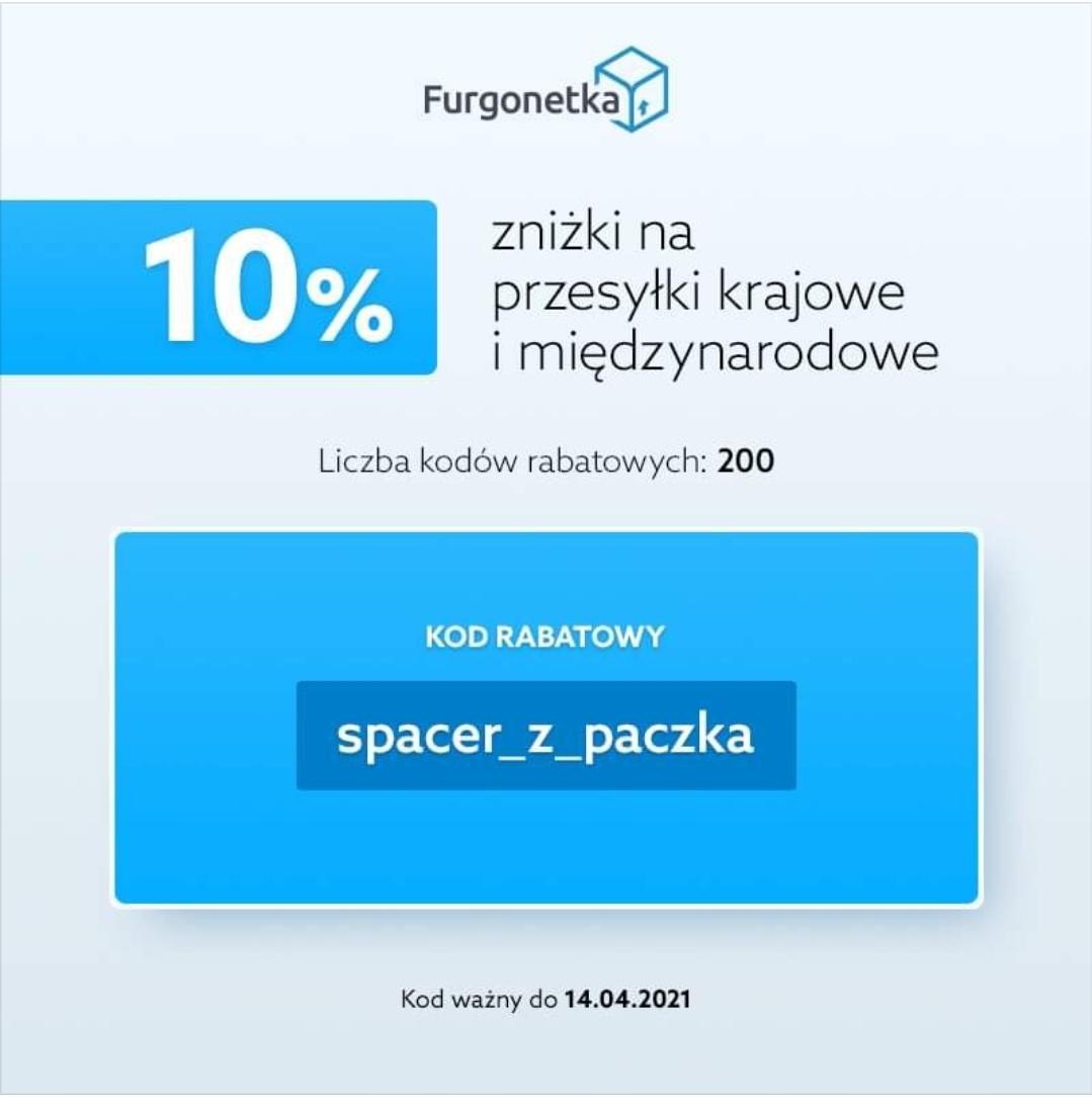 200 kuponów 10% rabatu w Furgonetka.pl na przesyłki krajowe i zagraniczne