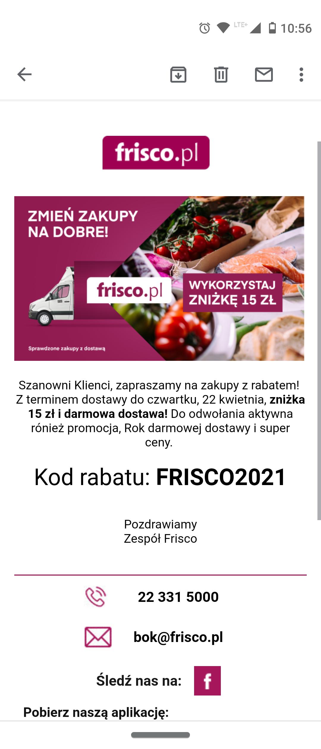 Frisco kupon 15zl + darmowa wysyłka (MKW 200 PLN)