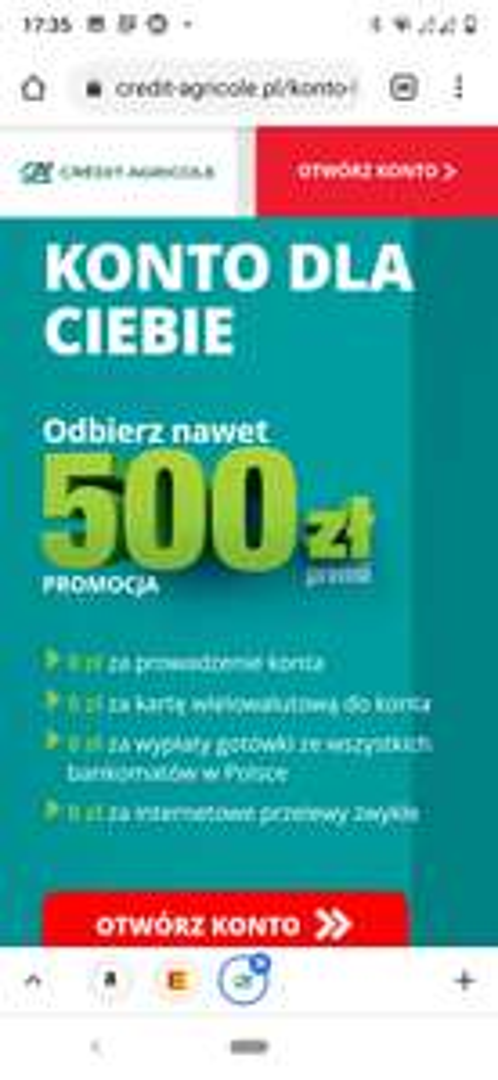 Do 500 zł zwrotu w banku Credit Agricole