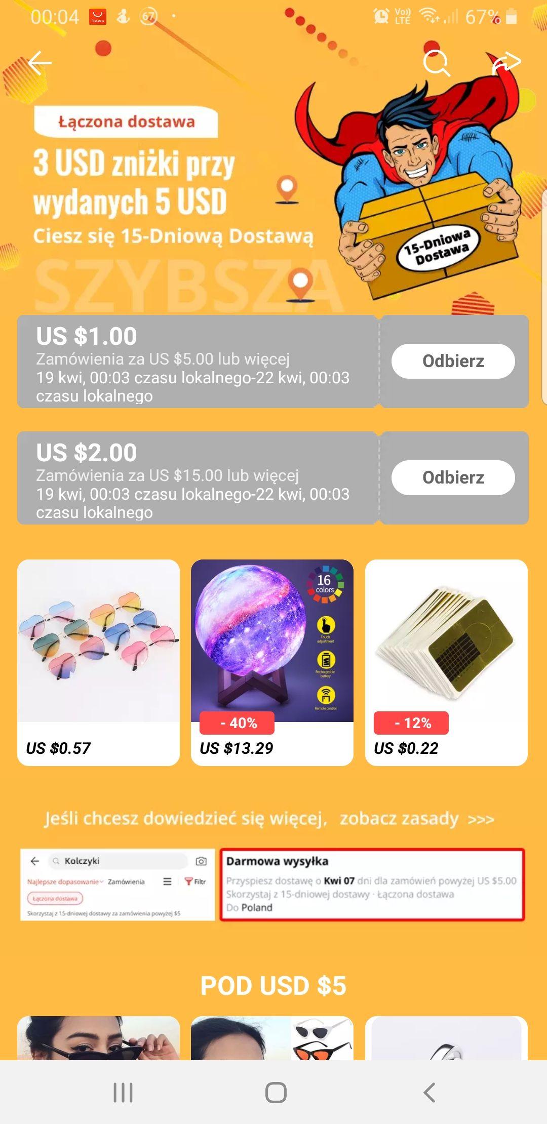 Kupon Aliexpress $1/$5 $2/$15 Czerwony Szybka dostawa
