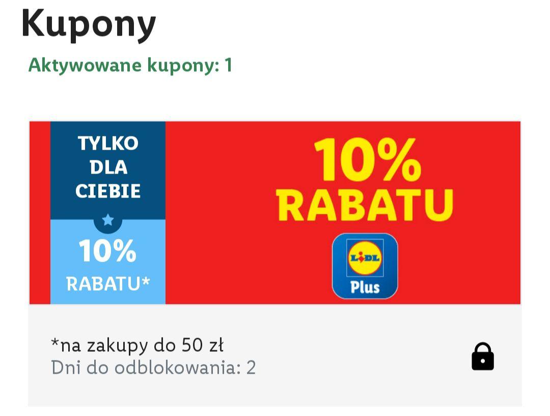 Lidl kupon 10% rabatu na zakupy do 50zl