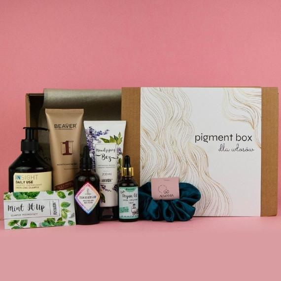 Pigment Box dla włosów, 7 kosmetyków- zawiera np. odżywkę Anwen, olej arganowy Nacomi i inne @DrogeriaPigment