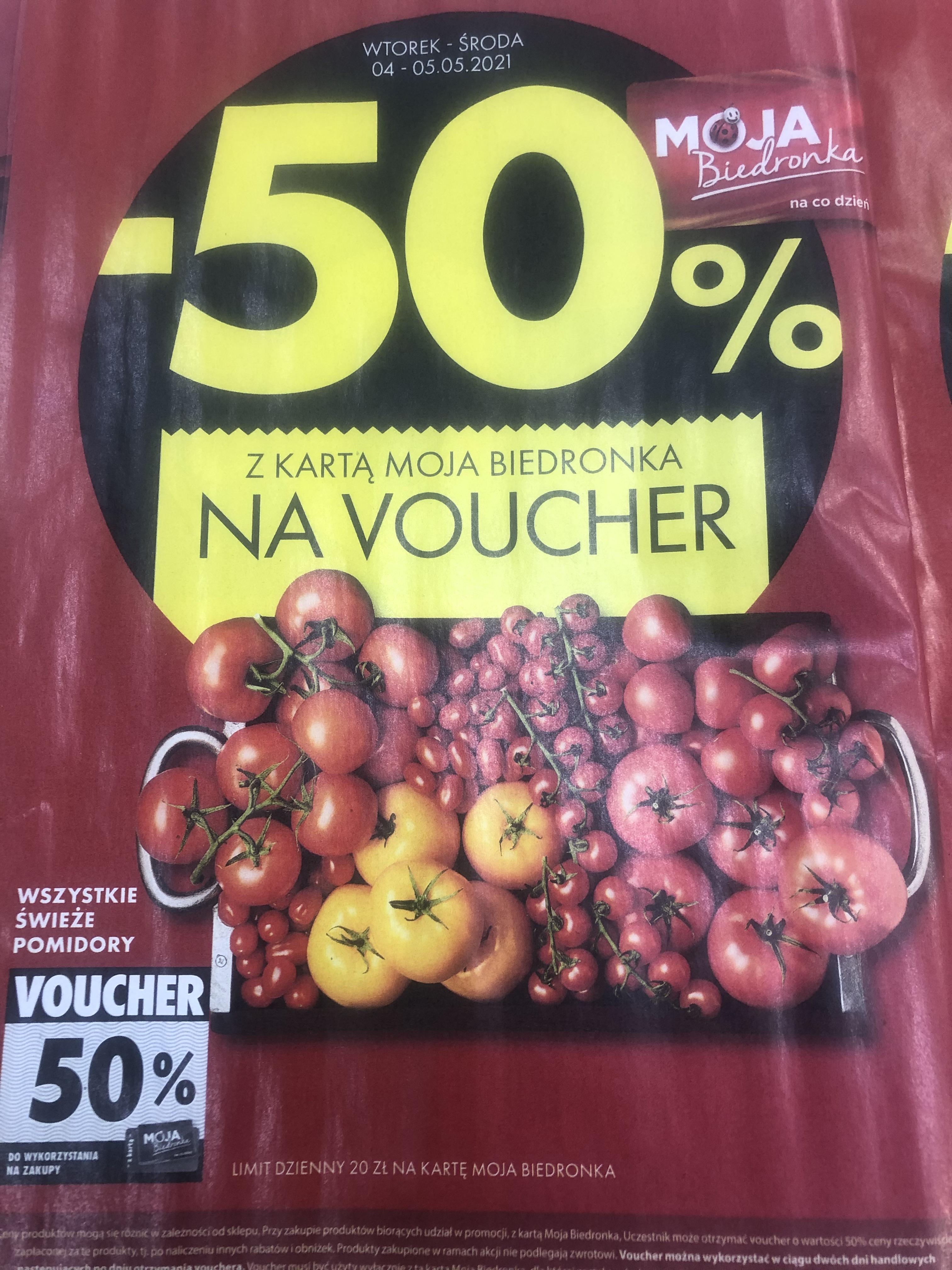 Voucher -50% za zakup pomidorów max 20zł