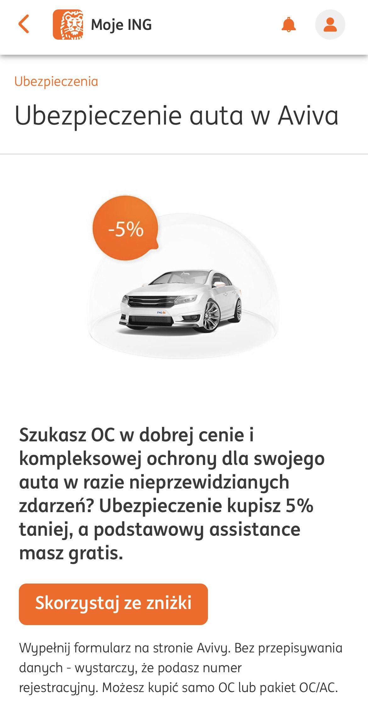 Aviva 5% zniżki na ubezpieczenie samochodu w aplikacji Moje ING