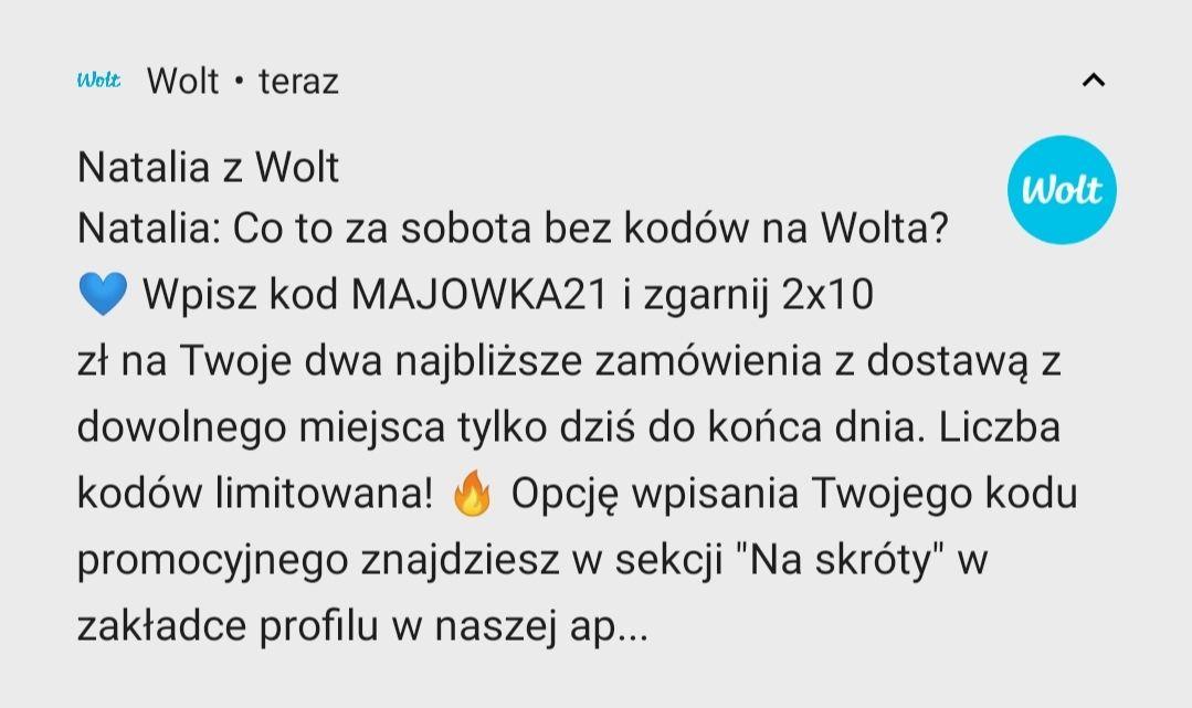 Wolt 2x15zł MWZ 25zł