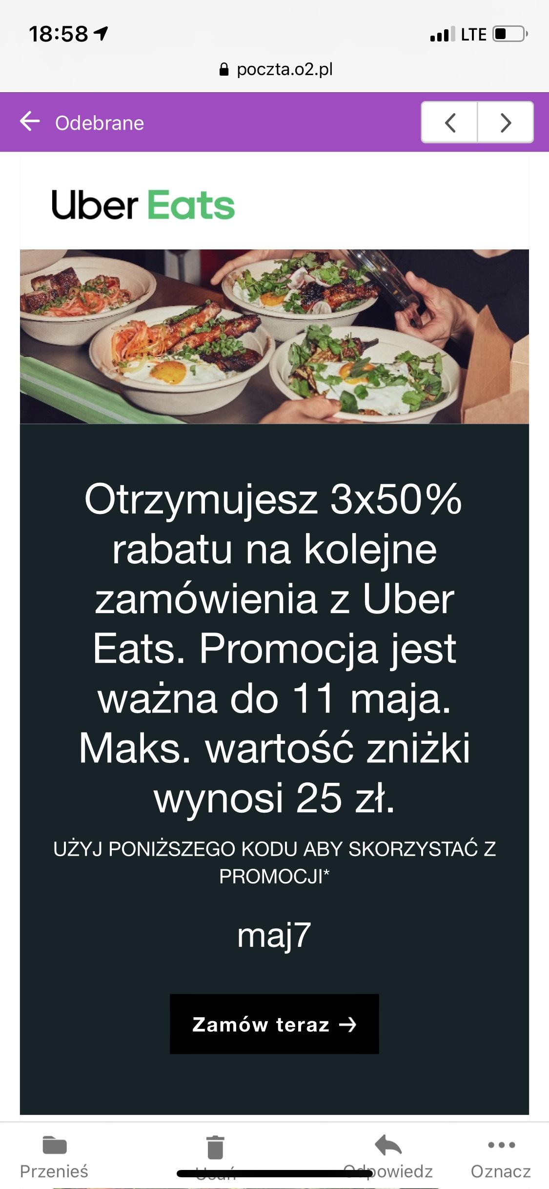 Uber Eats - 3x 50% zniżki (maks 25 zł)