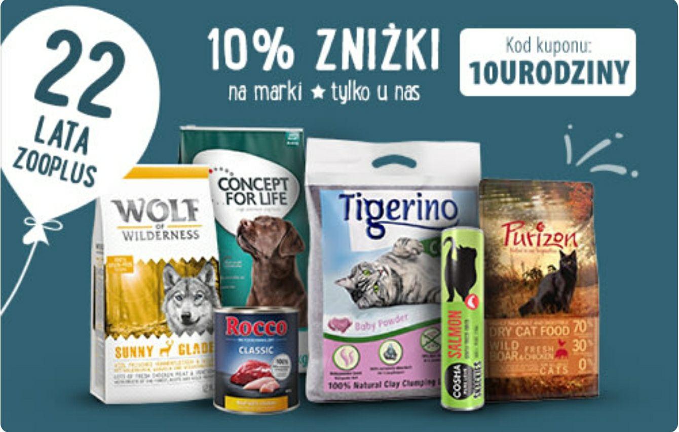 Zooplus - 10% rabatu na marki własne (m.in. Purizon, Cosma, Tigerino, Rocco)