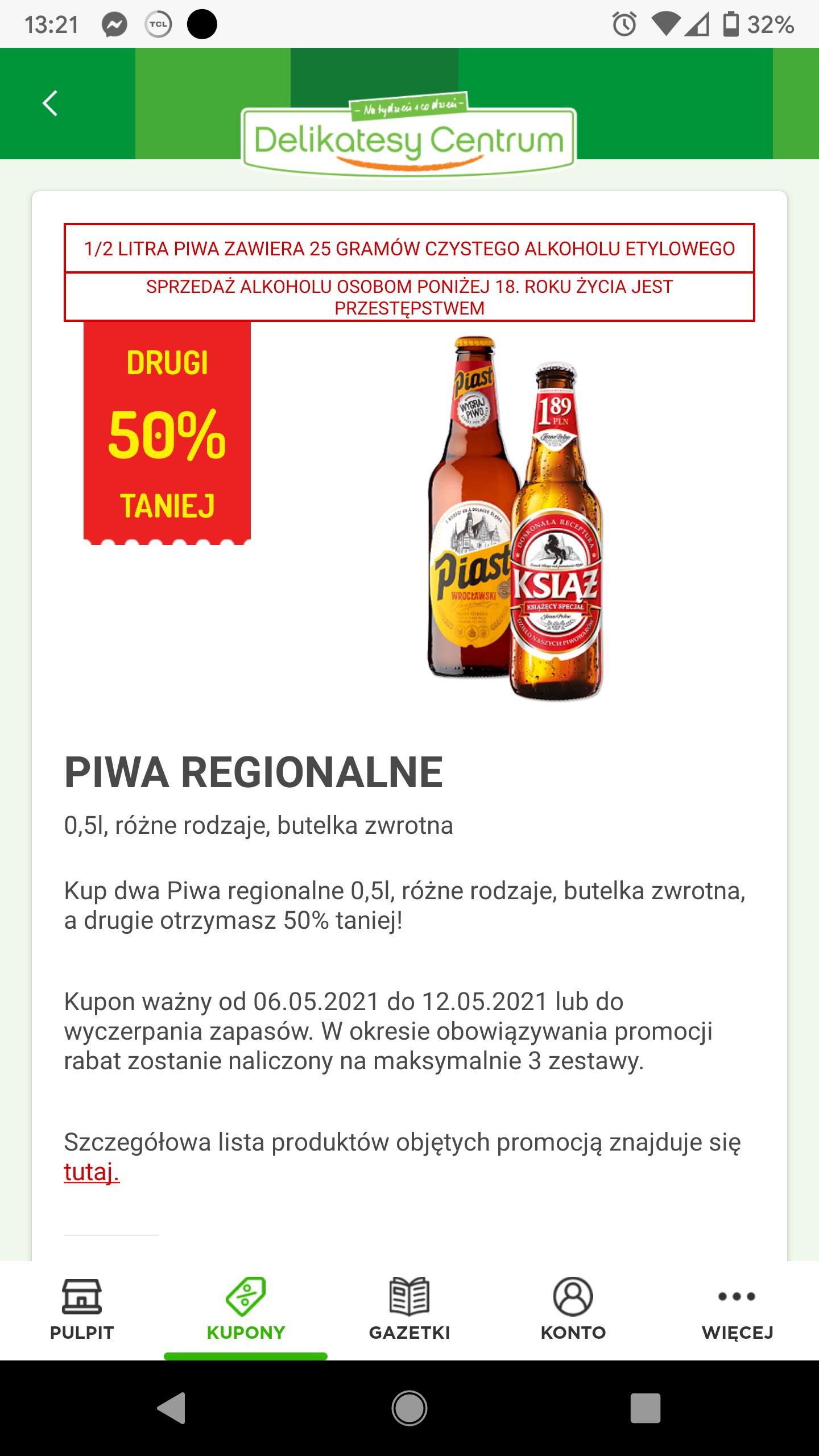 Piwa regionalne, drugie za pół ceny, delikatesy centrum