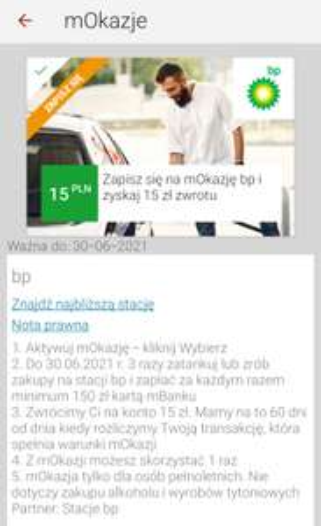 MBank nowa mOkazja paliw BP zwrot 15zl mwz 450