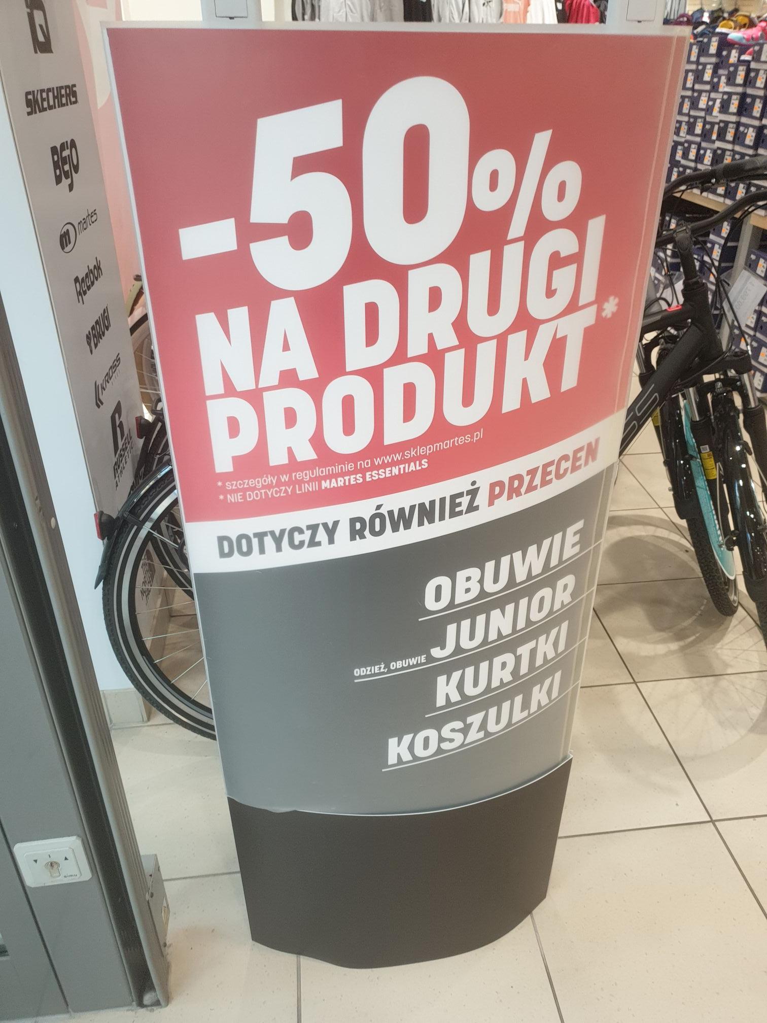 -50% na drugi produkt w Martes Sport (również przecenione)