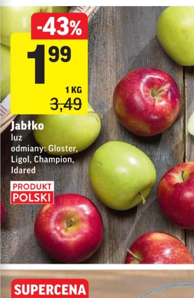 Jabłko luz Gloster, Ligol, Champion i Idared 1kg /Intermarche/