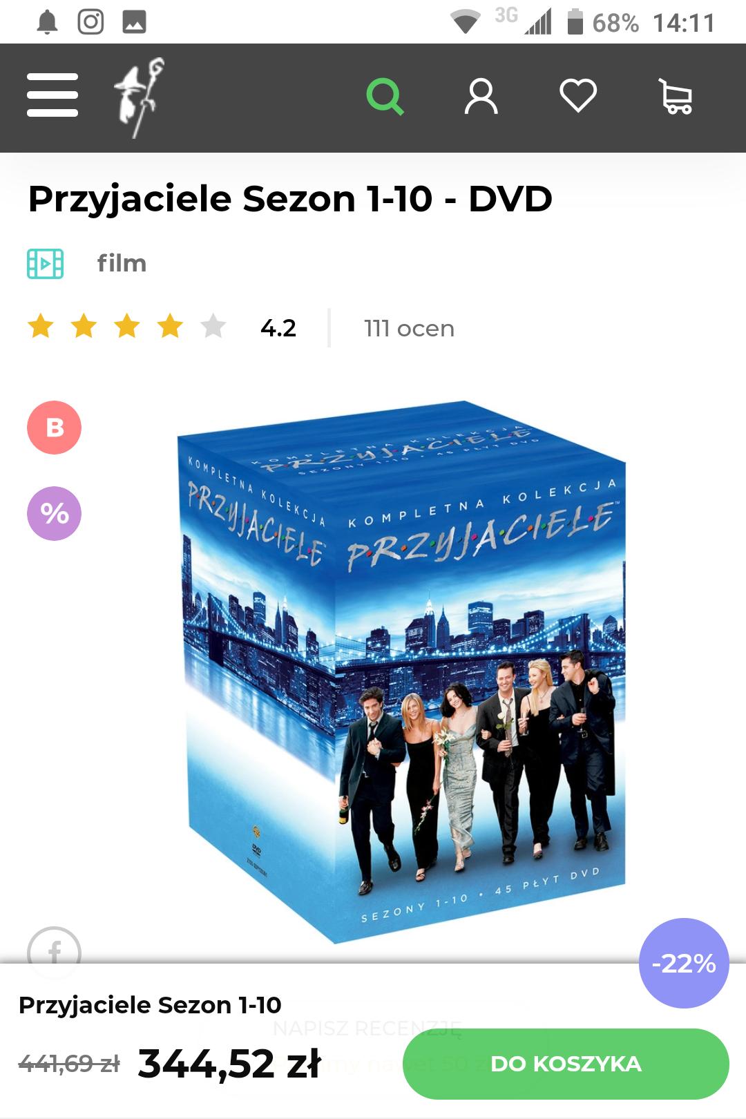 Przyjaciele w PL Kompletna Kolekcja sezony 1-10 na DVD