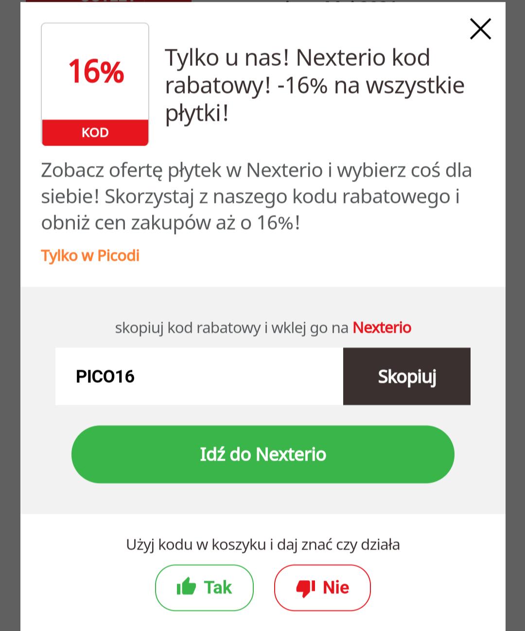 Wszystkie płytki - 16 % w nexterio outlet