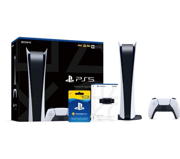 Sony PlayStation 5 Digital Edition + kamera + subskrypcja PlayStation Plus 3 m-ce