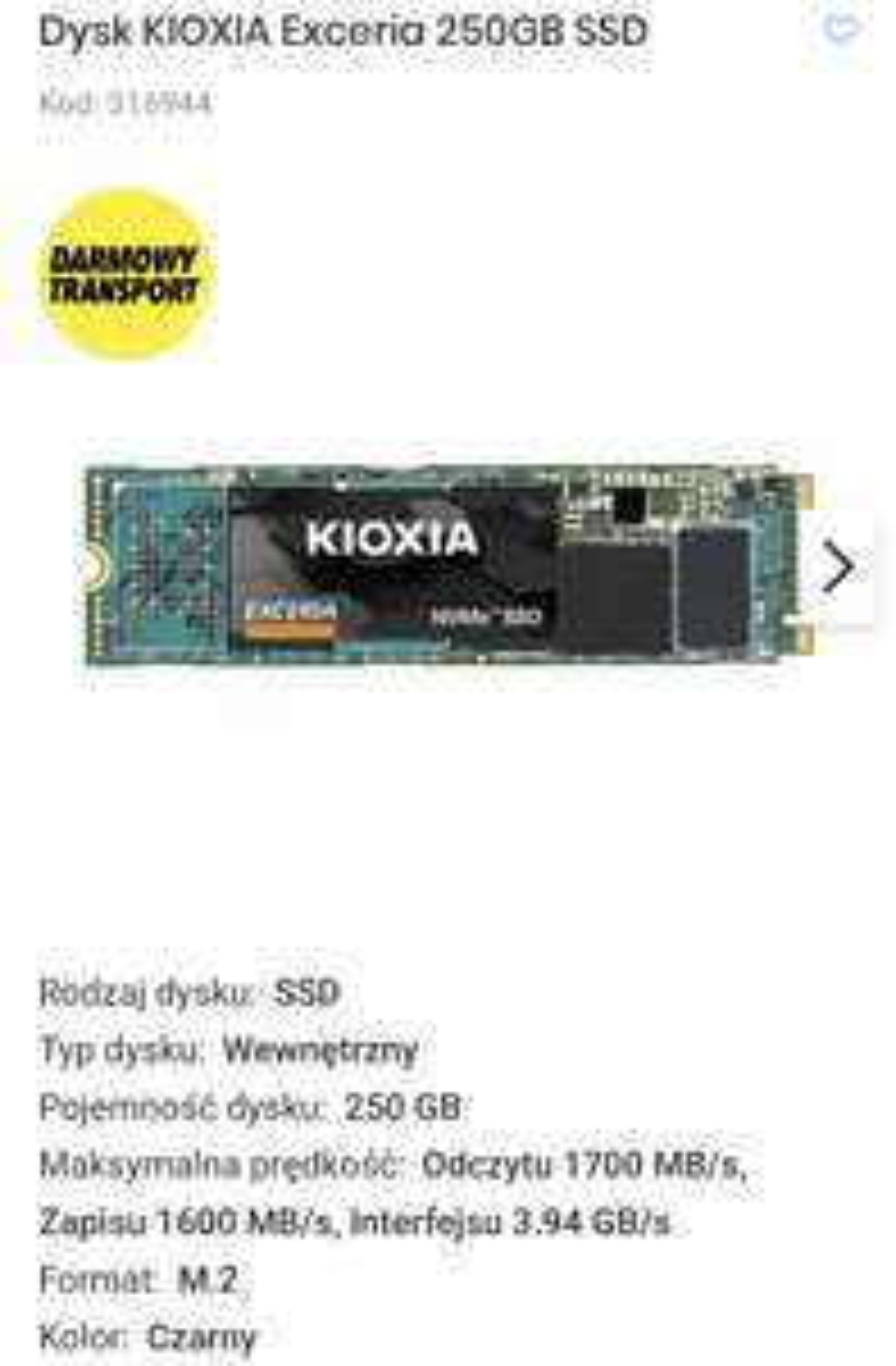 Dysk SSD Kioxia (Toshiba) Exceria NVMe 250GB PCIe 3.0 x3, 1700/1200 MB/s