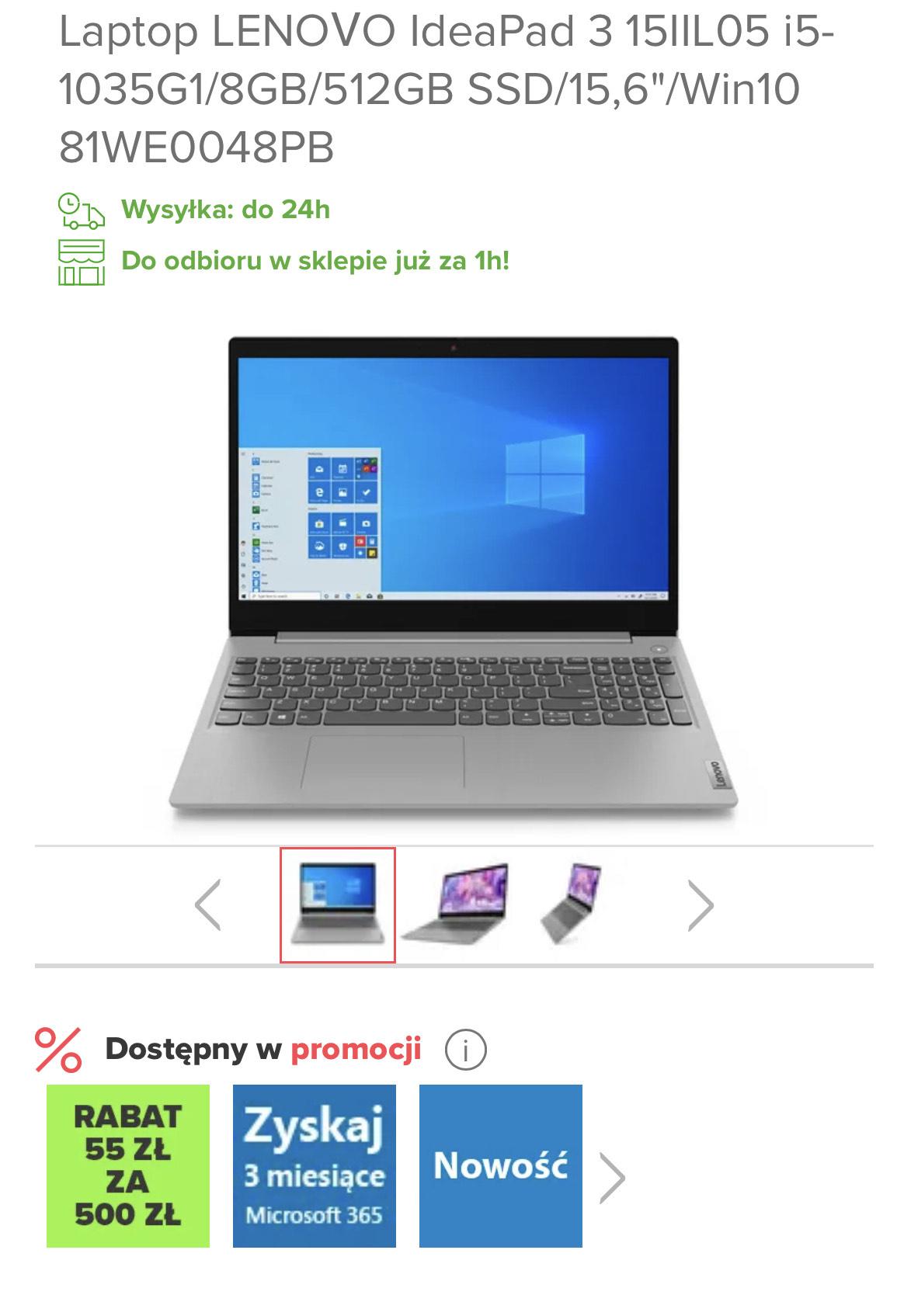 """Laptop LENOVO IdeaPad 3 15IIL05 i5-1035G1/8GB/512GB SSD/15,6""""/Win10"""