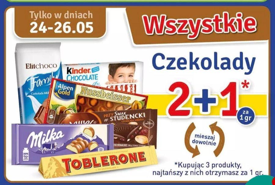 Czekolada 2+1 za 1grosz Milka, Wawel, Alpen Gold, Kinder, Toblerone i inne @Stokrotka