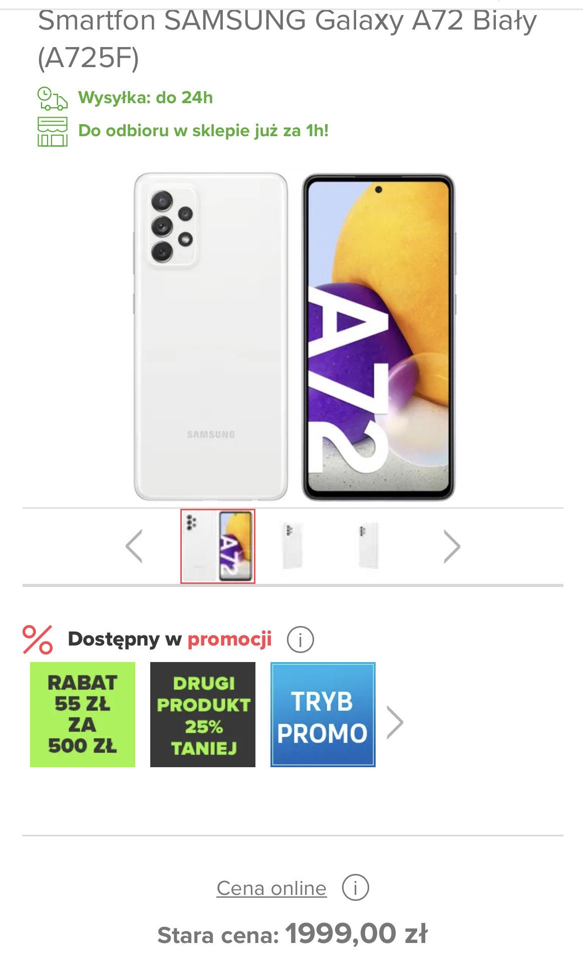 Smartfon SAMSUNG Galaxy A72 Biały