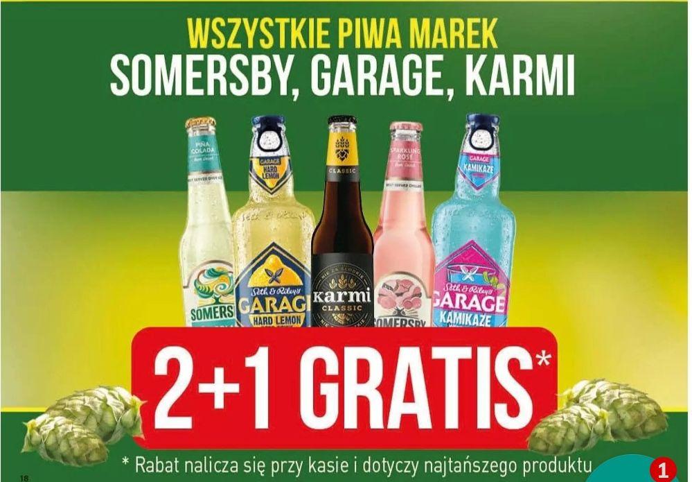 Piwo, piwa, napoje piwne 2+1gratis Somersby, Garage, Karmi @Stokrotka