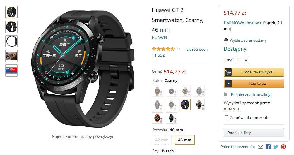 Smartwatch Huawei GT 2 46mm czarny