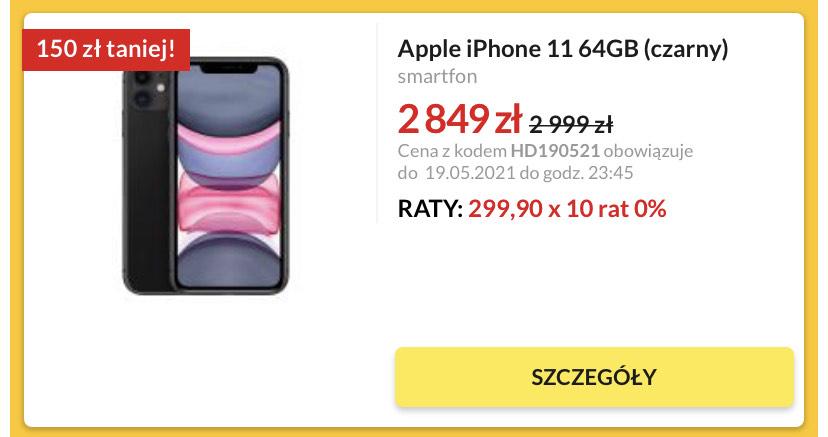 iPhone 11 czarny 64 GB