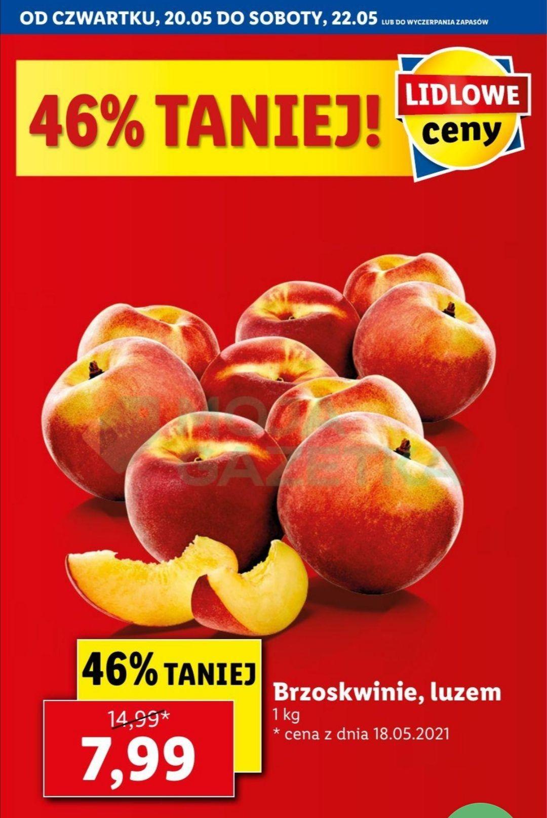 Brzoskwinie, luzem, cena za kg - lidl