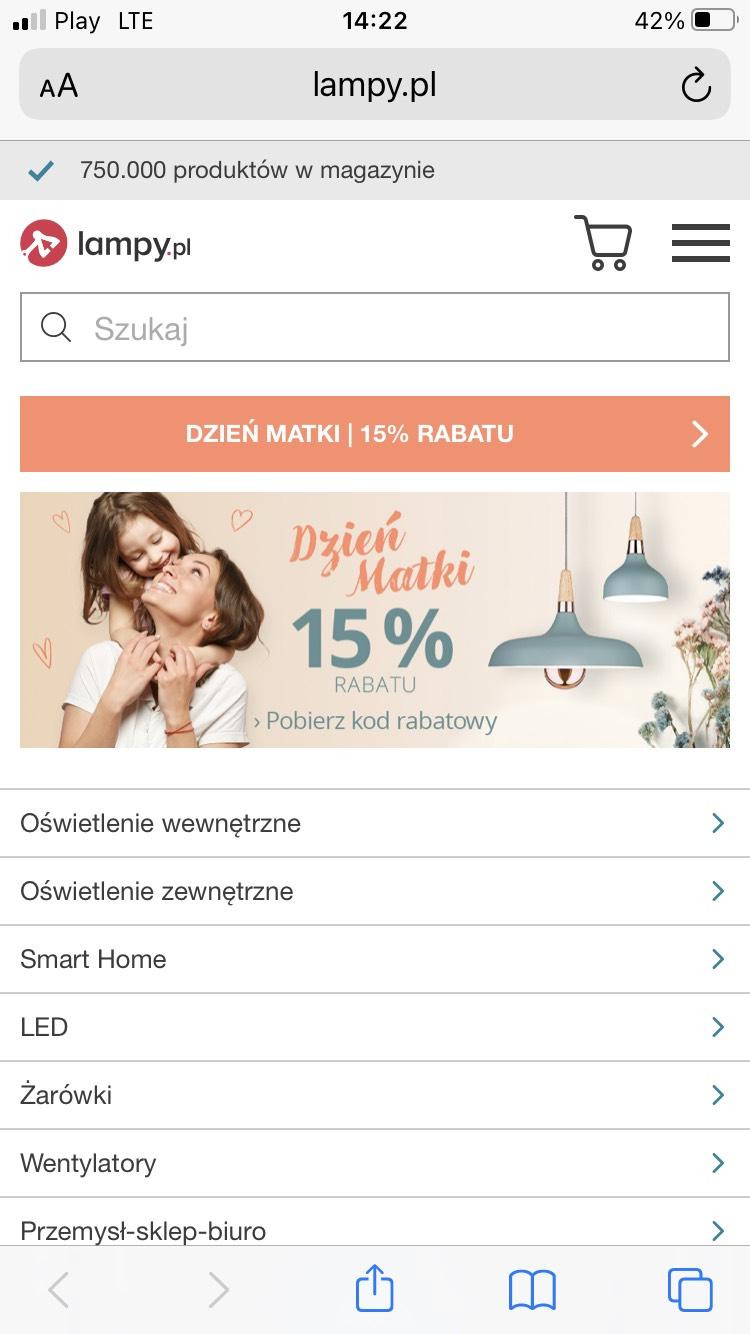 Lampy.pl 15 % na cały asortyment