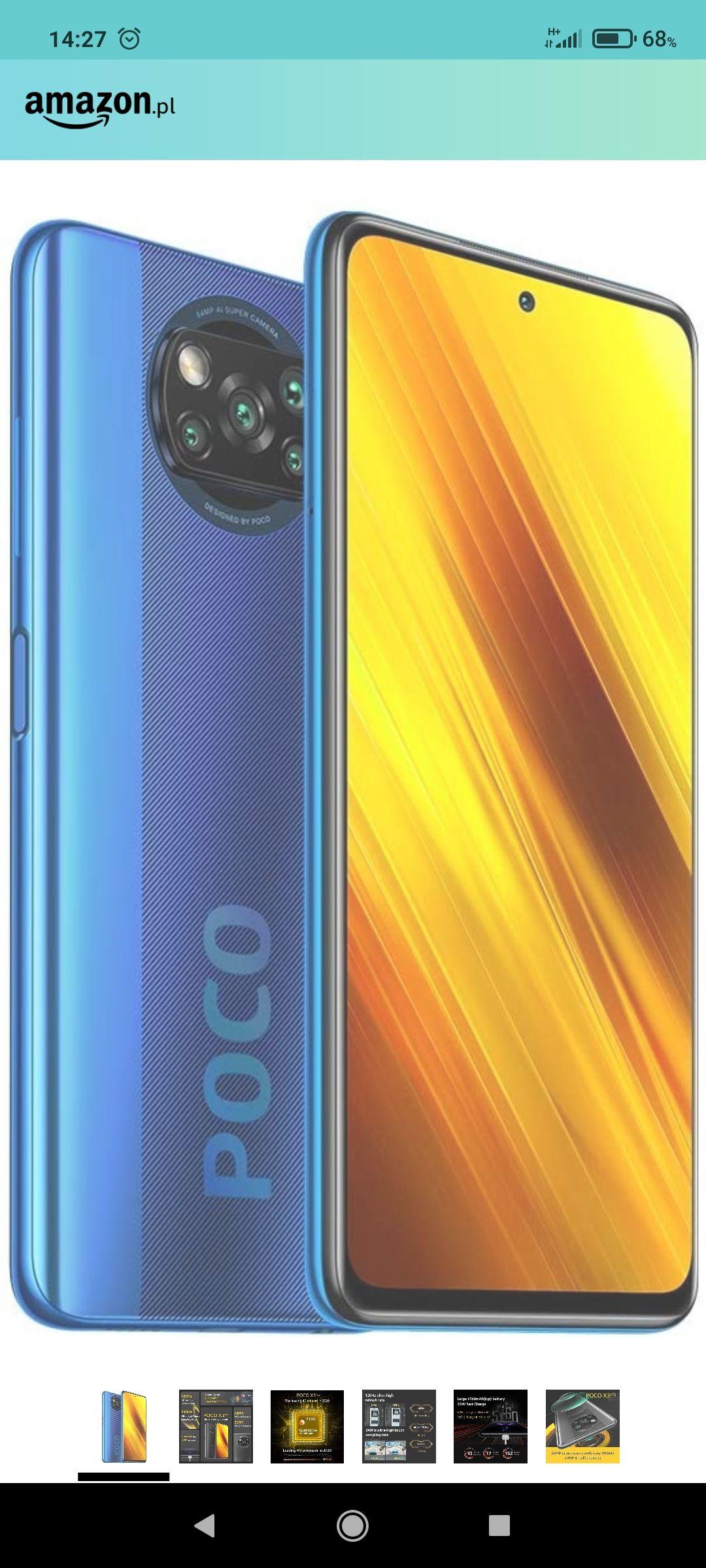Xiaomi Poco X3 NFC Smartfon, 128 GB, 6 GB RAM, Dual Sim, szary Shadow Grey