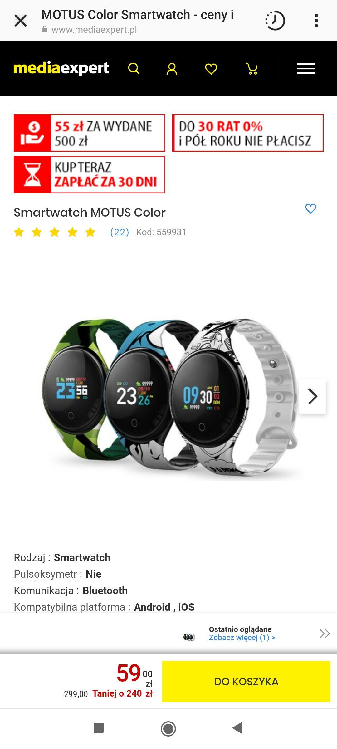 Smartwatch MOTUS 3 kolory do wyboru
