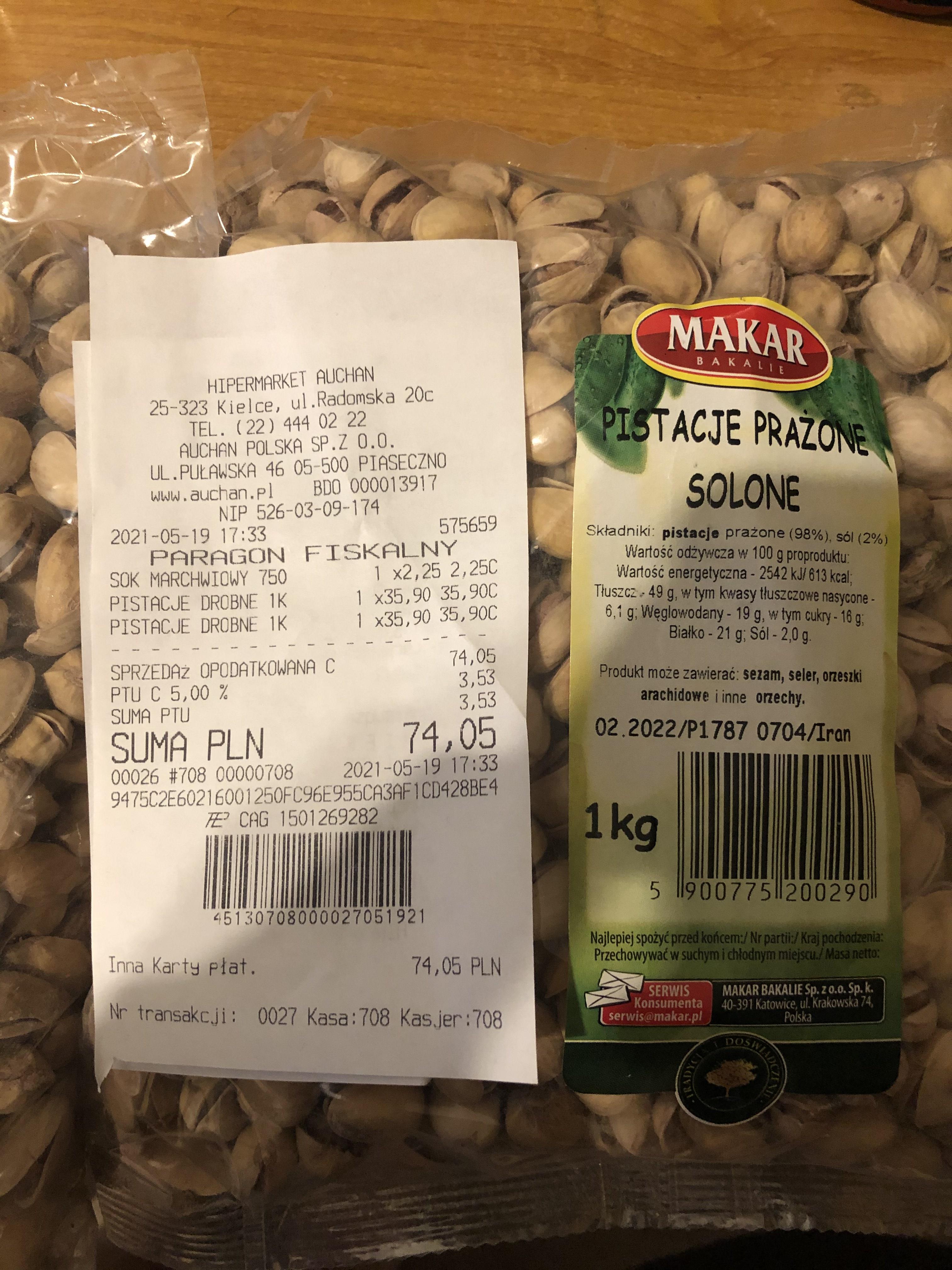 Pistacje 1 kg auchan