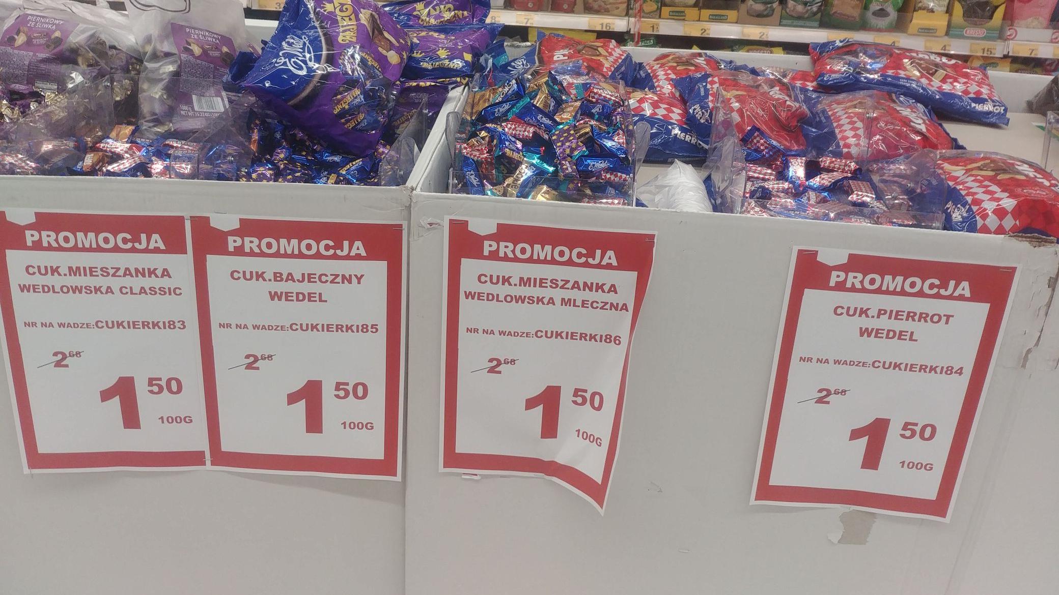 Cukierki Wedel na wagę różne rodzaje. Auchan Tarnów błonie