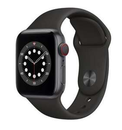 APPLE Watch 6 Cellular 44mm (Gwiezdna szarość z opaską sportową w kolorze czarnym)