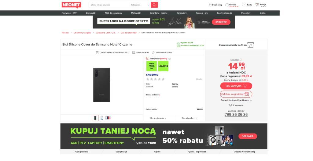 Etui Samsung Silicone case dla NOTE 10 czarne
