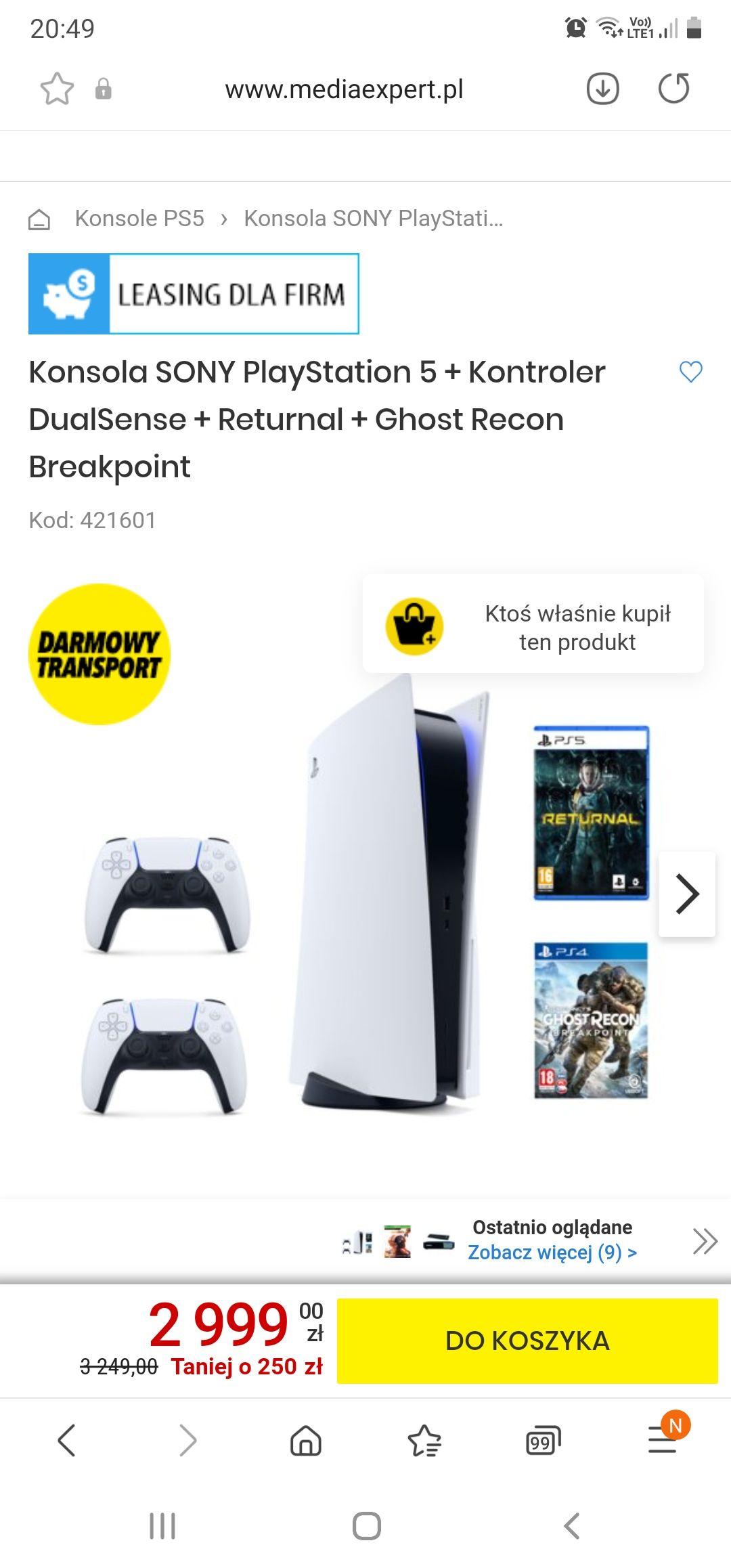 Konsola SONY PlayStation 5 + Kontroler DualSense + Returnal + Ghost Recon Breakpoint