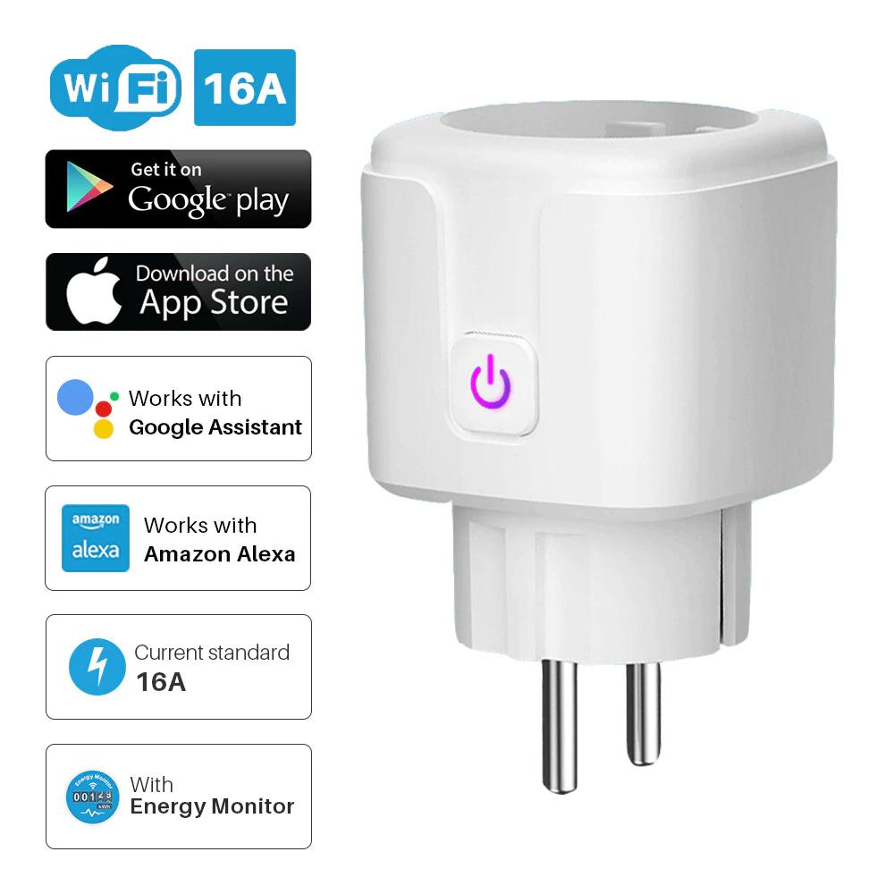 gniazdo Wi-Fi sterowane aplikacją Tuya Smart Life 16A (7,64$)