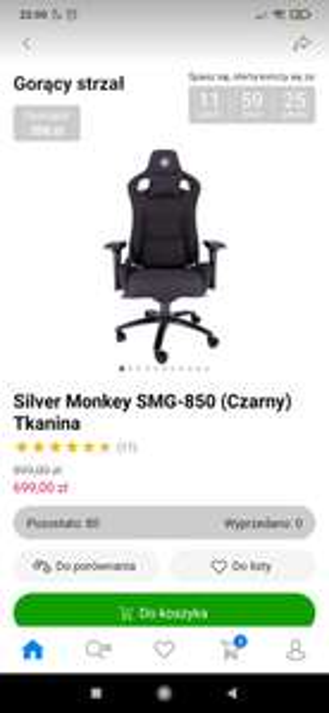 Fotel Silver Monkey SMG-850 (Czarny) Tkanina