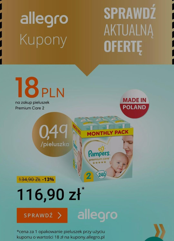 Pampers premium care 2, kupon 18zl (min 80zl) lub 10zl na dowolne pampersy (min 87zl)   240sztuk za 116.9zl   0,49zl/szt. @Allegro