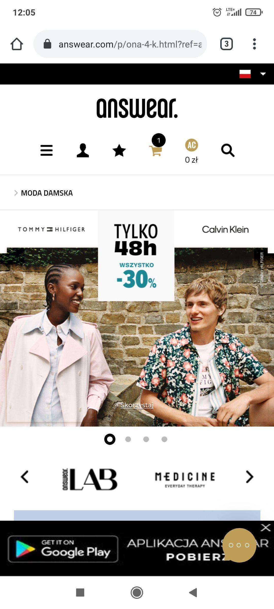 -30% na wszystko marek Tommy Hilfiger i Calvin Klein w Answear