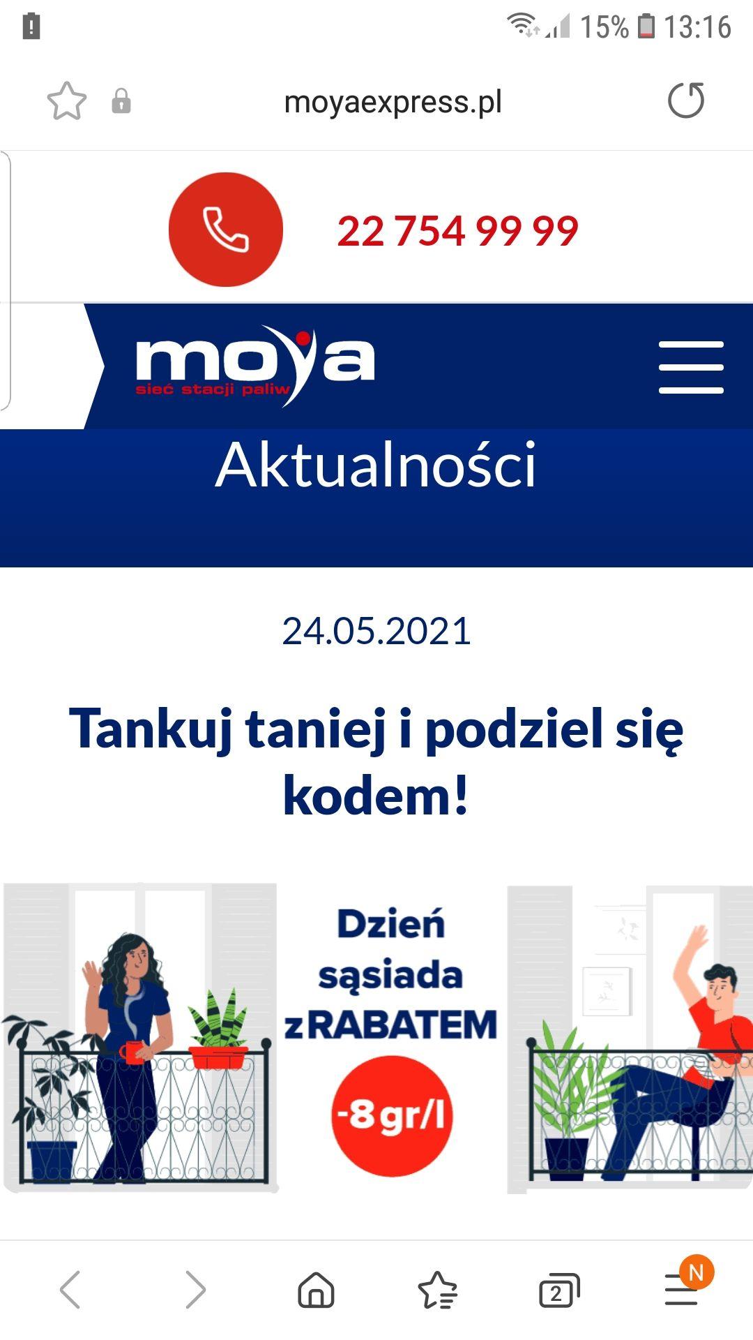 Tankuj taniej o 0.8gr na 1l paliwa na stacjach MOYA