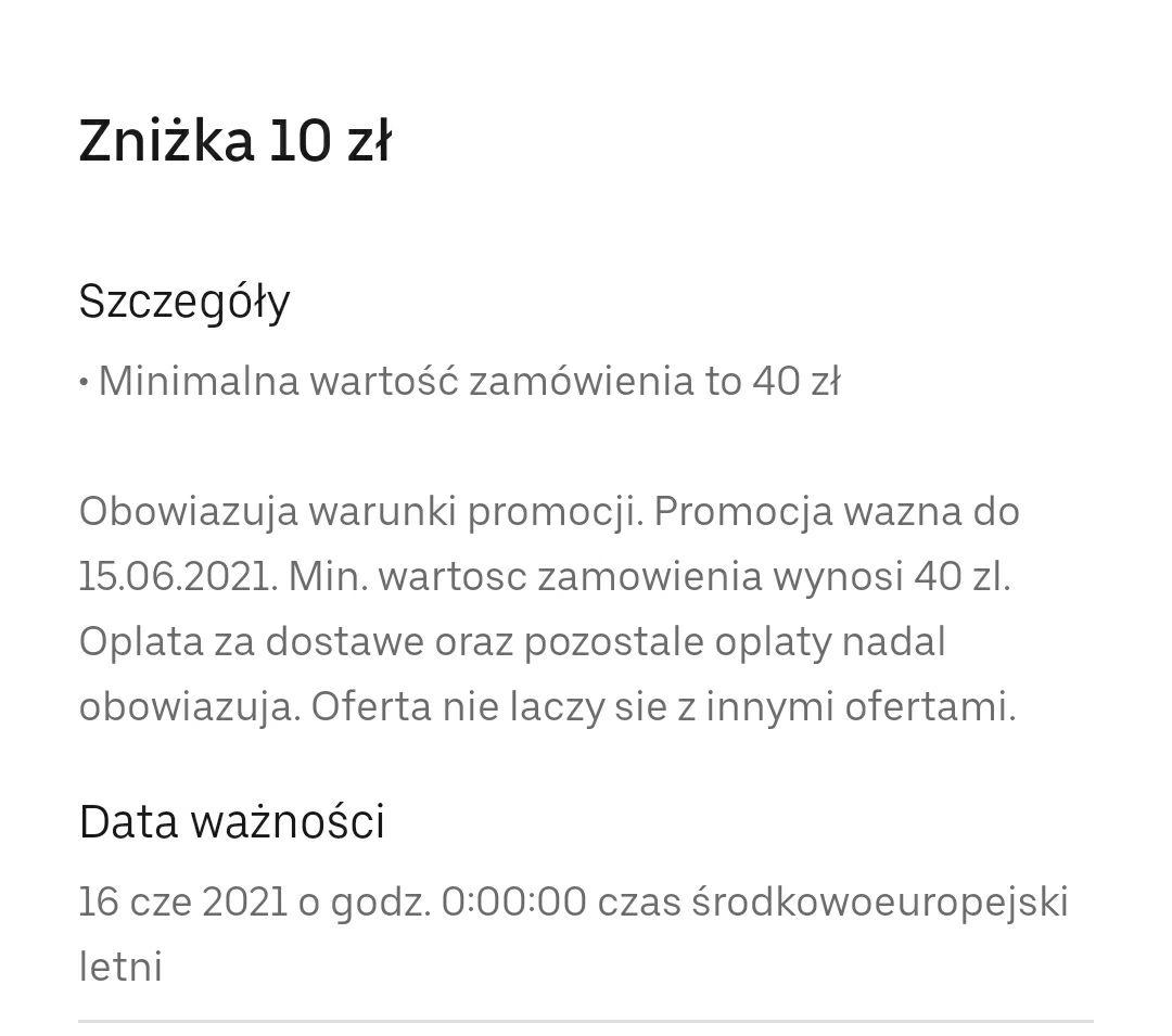 Uber eats 10 zł zniżki MWZ 40 zł