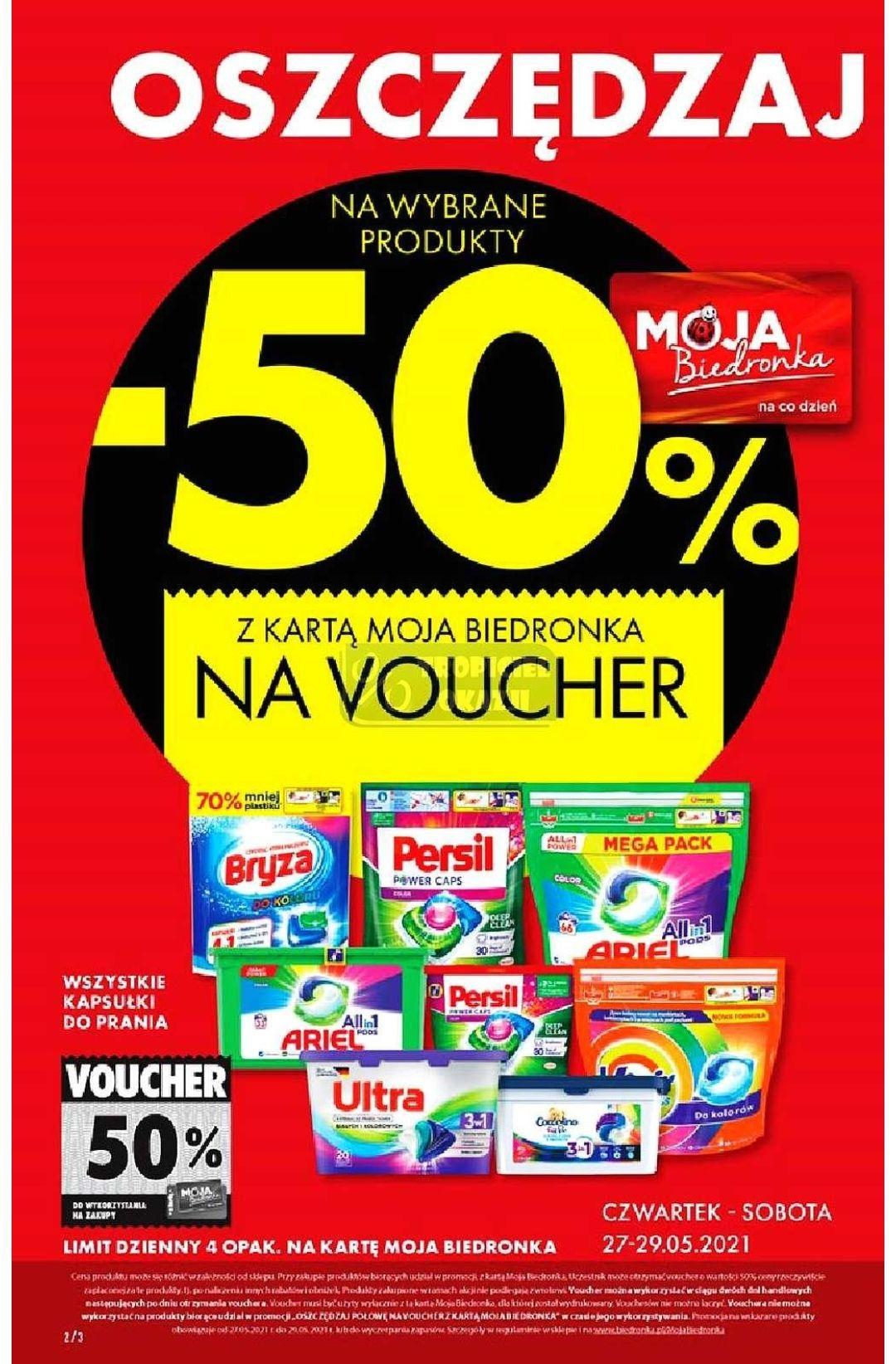 Biedronka kapsułki do prania 50% taniej na voucher
