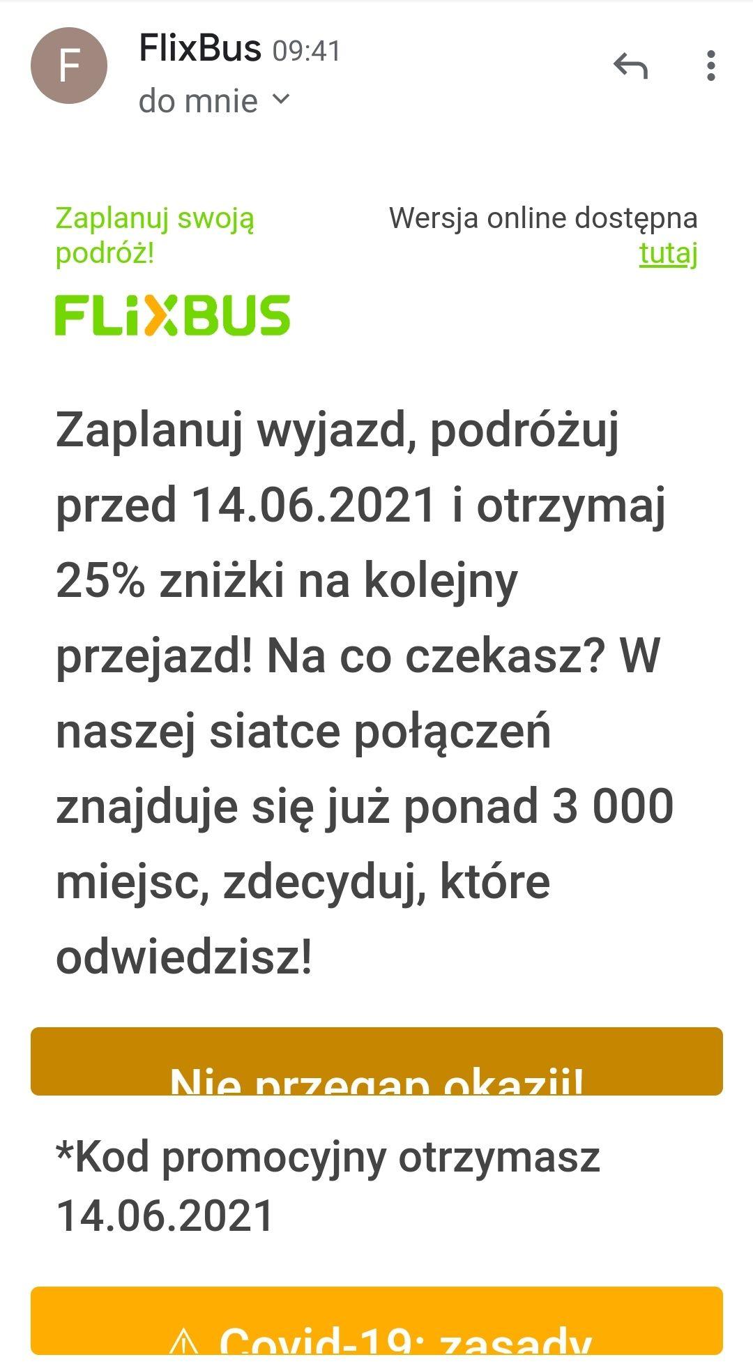 Zniżka na kolejny przejazd 25% na Flixbus